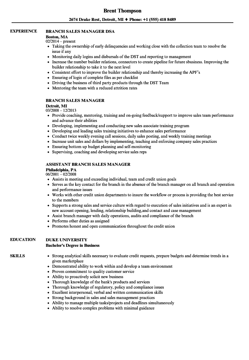 branch sales manager resume samples