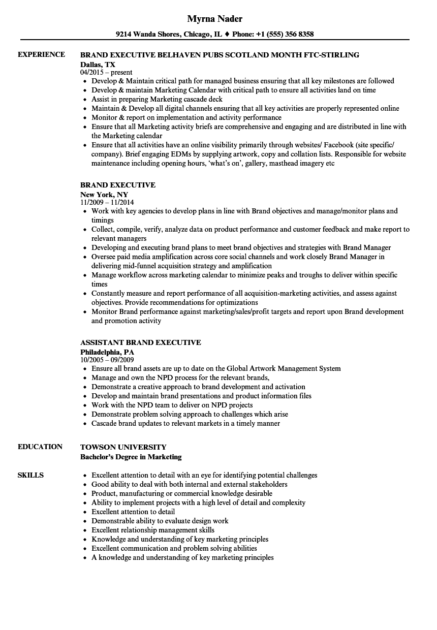 Brand Executive Resume Samples | Velvet Jobs