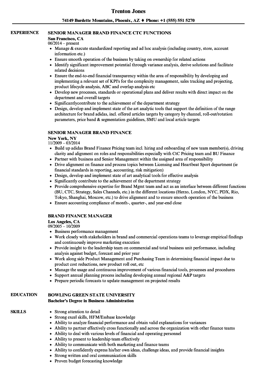 download brand finance manager resume sample as image file - Finance Manager Resume Template