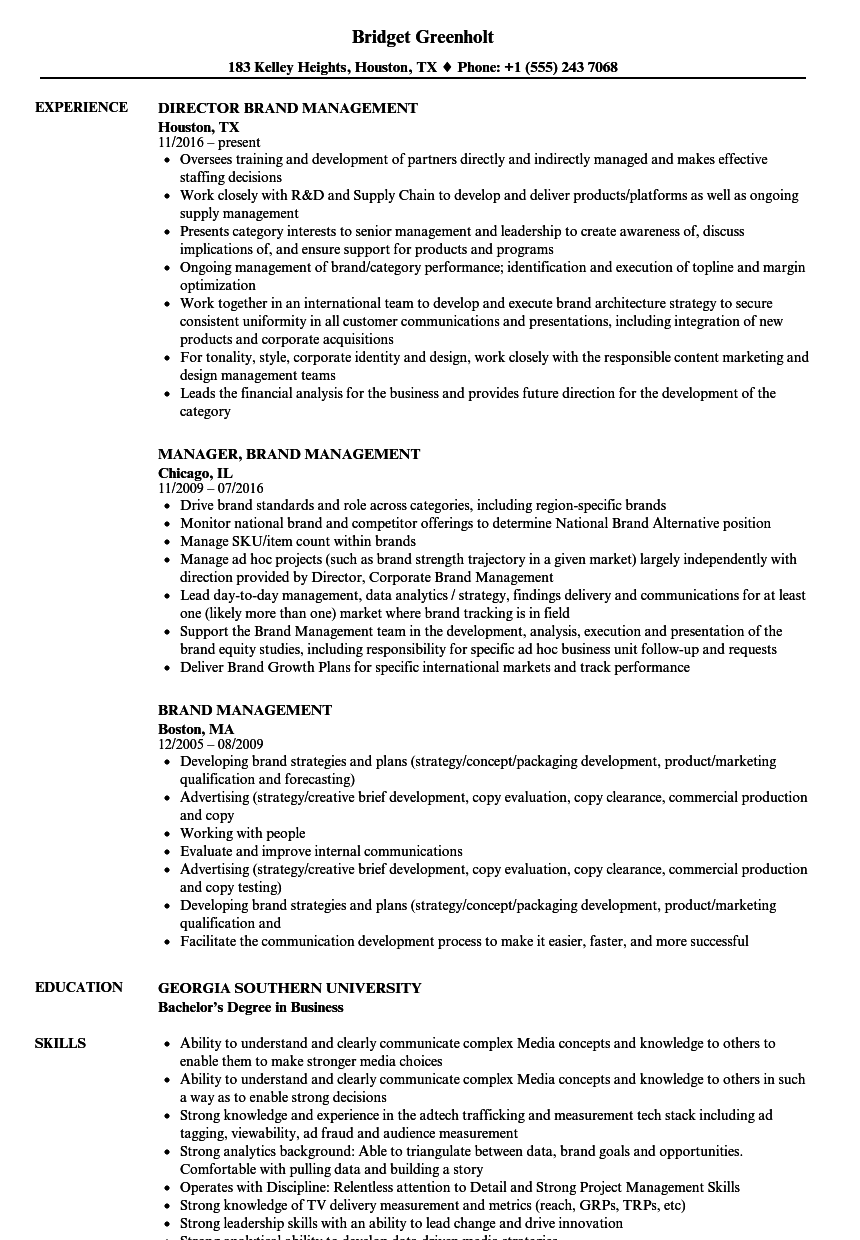 brand management resume samples
