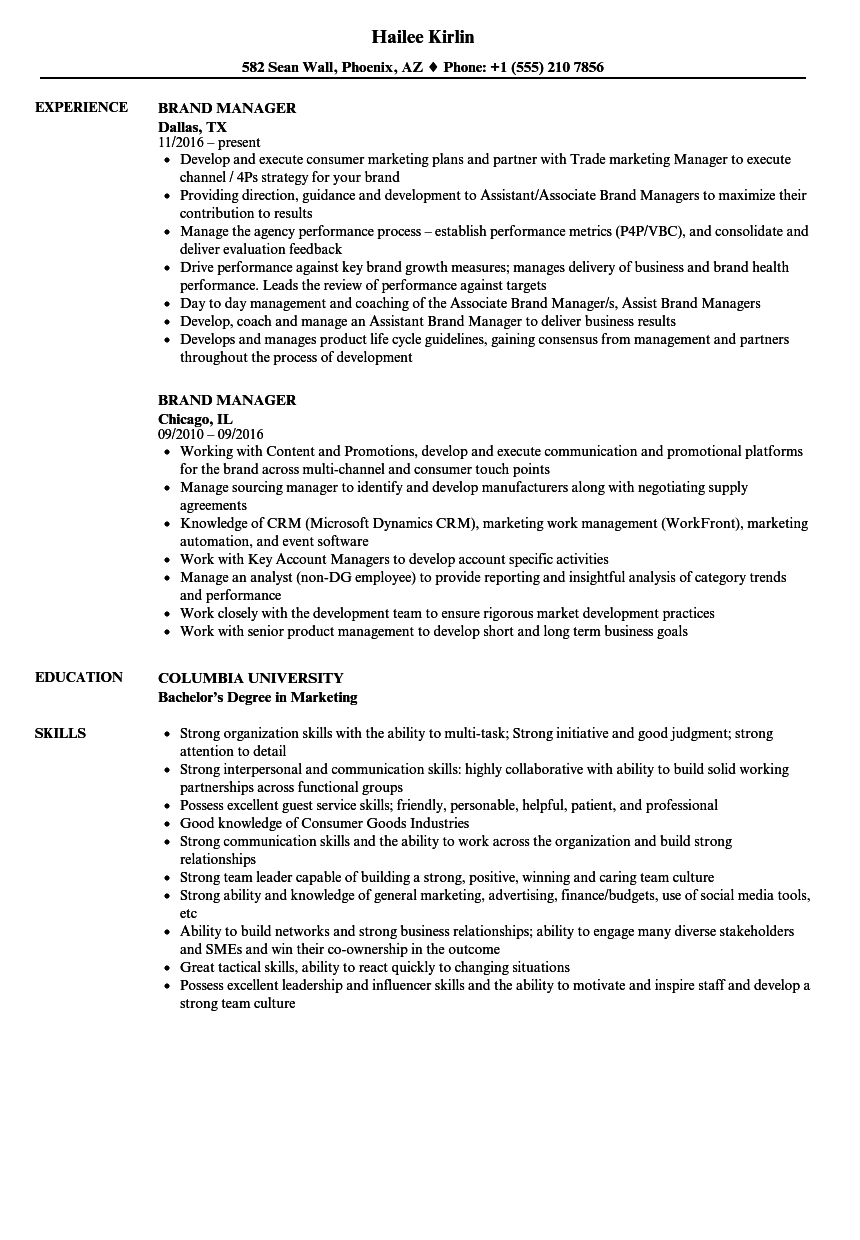 Brand Manager Resume Samples | Velvet Jobs