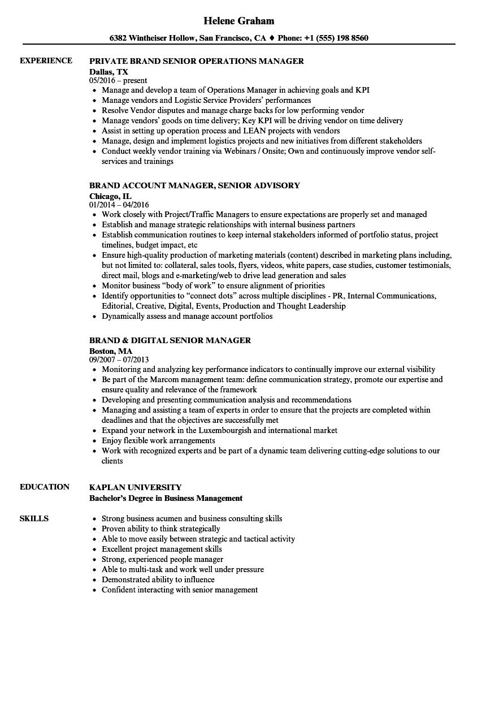 Brand Manager Senior Brand Manager Resume Samples Velvet Jobs