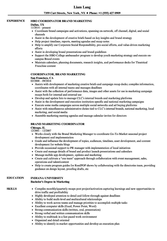 Brand Marketing Coordinator Resume Samples | Velvet Jobs