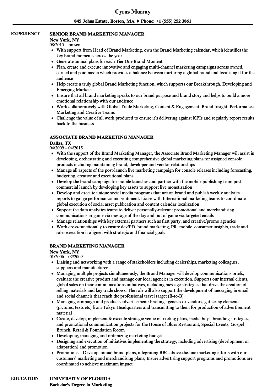 brand marketing manager resume samples velvet jobs