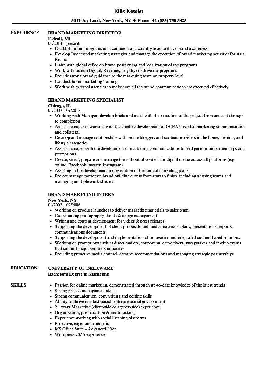 Brand Marketing Resume Samples  Velvet Jobs