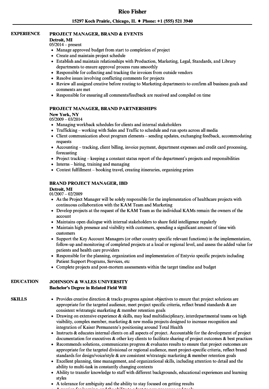 brand project manager resume samples