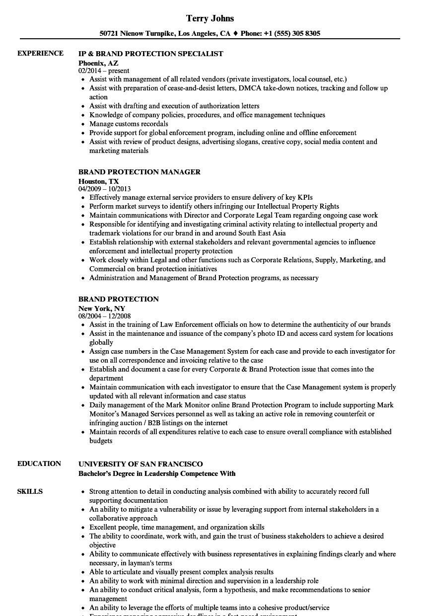 Brand Protection Resume Samples | Velvet Jobs