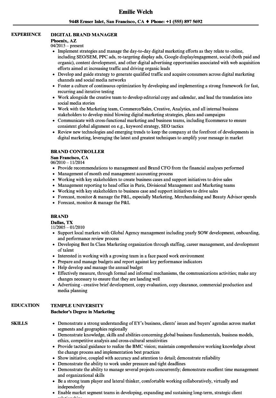 Brand Resume Samples | Velvet Jobs