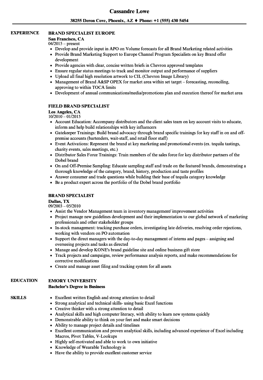 brand specialist resume samples