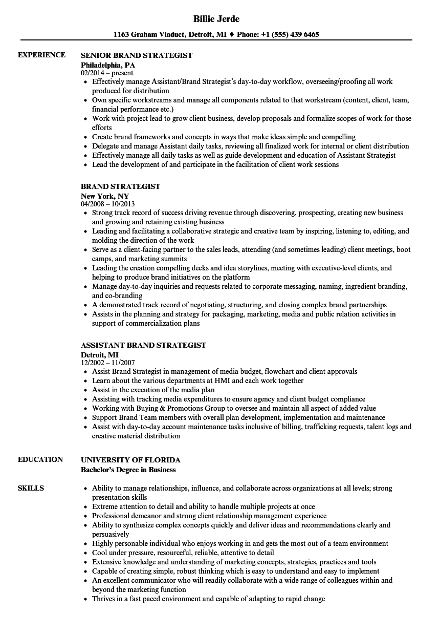 Brand Strategist Resume Samples | Velvet Jobs