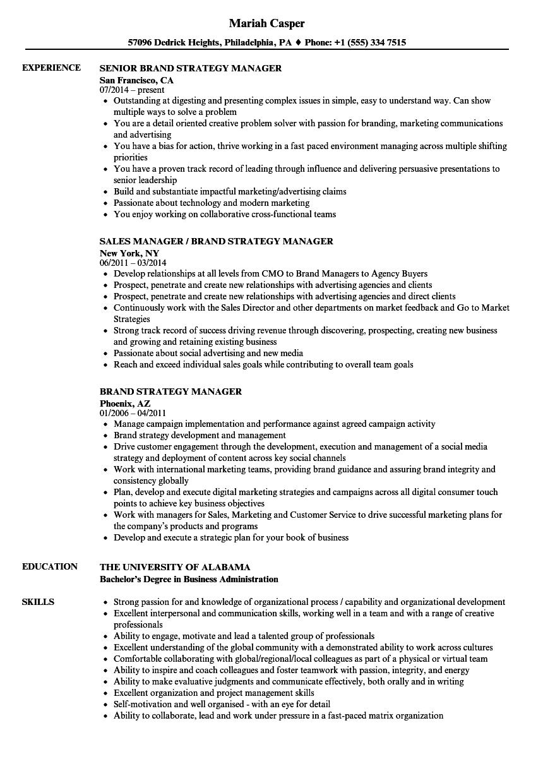 Brand Strategy Manager Resume Samples | Velvet Jobs
