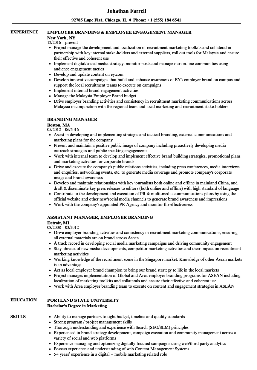 download branding manager resume sample as image file