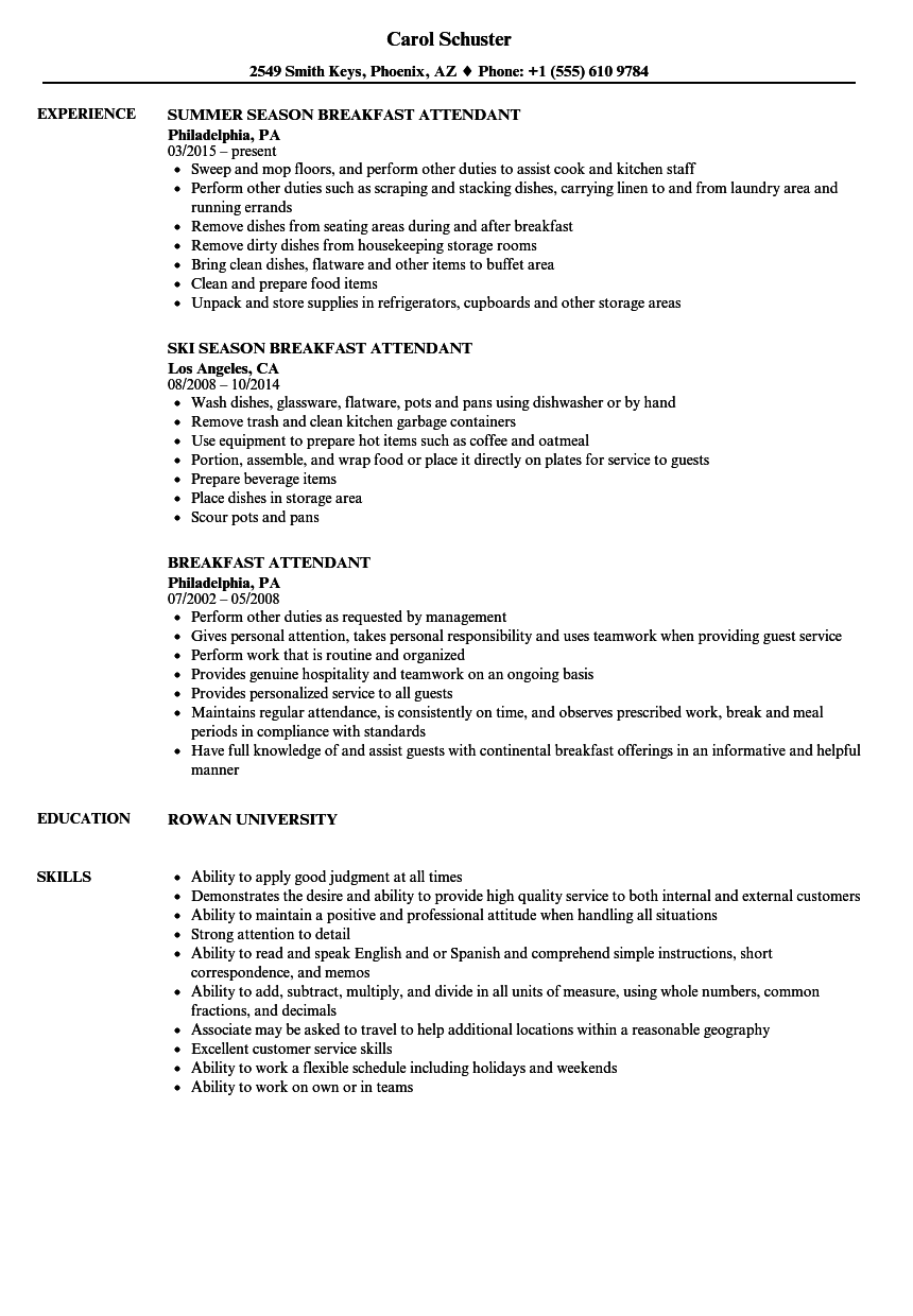 breakfast attendant resume samples