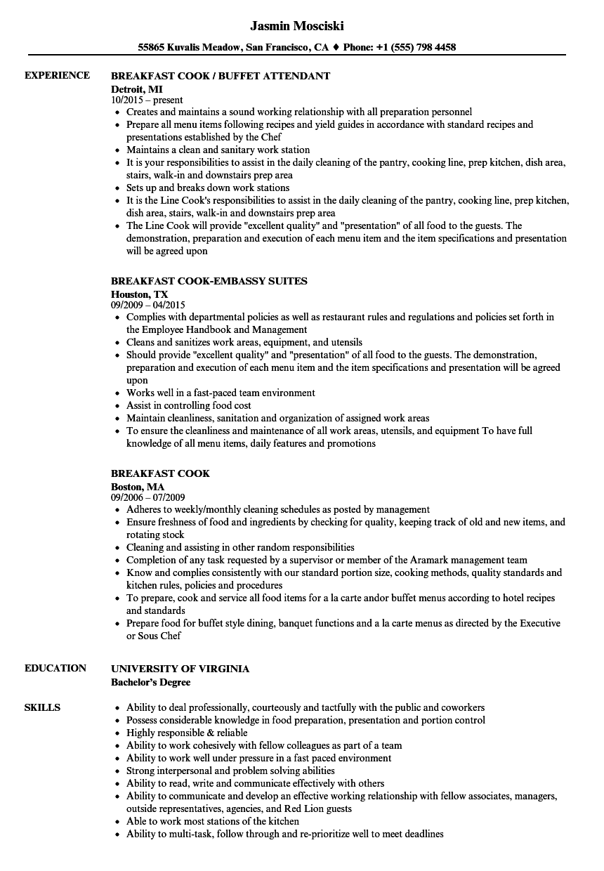 Breakfast Cook Resume Samples | Velvet Jobs