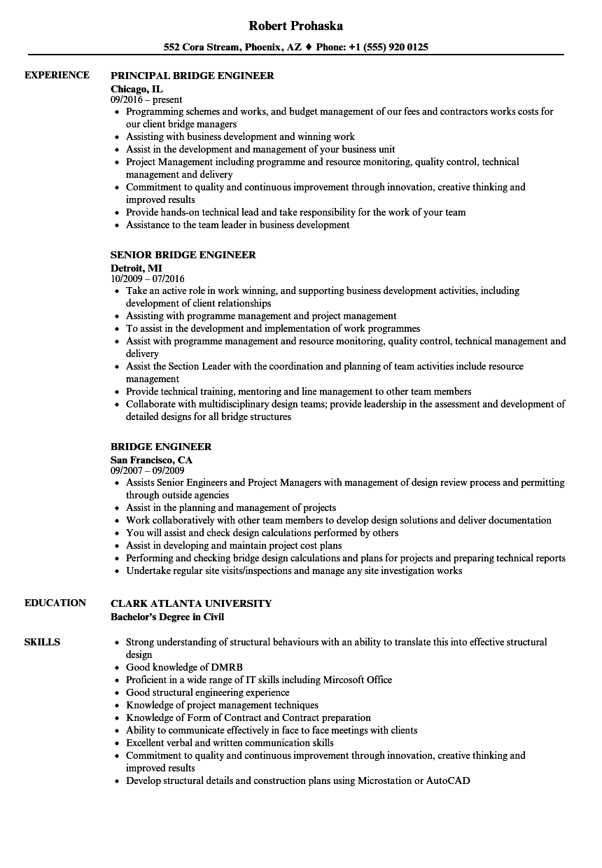 Bridge Engineer Resume Samples | Velvet Jobs