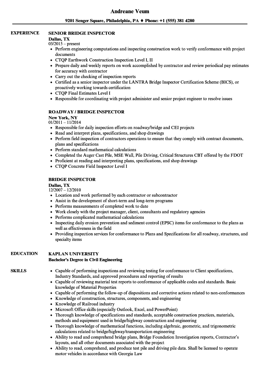 Bridge Inspector Resume Samples | Velvet Jobs