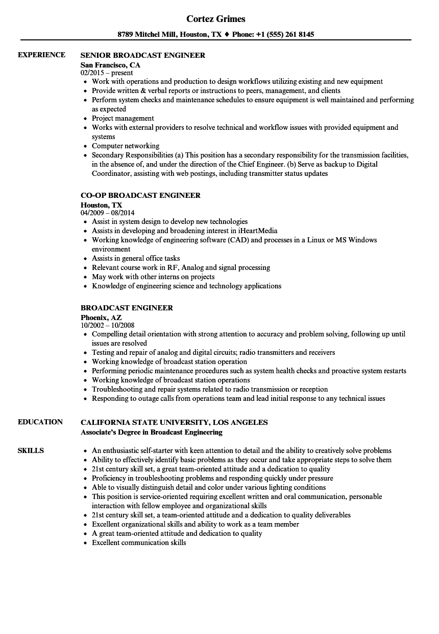 download broadcast engineer resume sample as image file - Broadcasting Engineer Resume