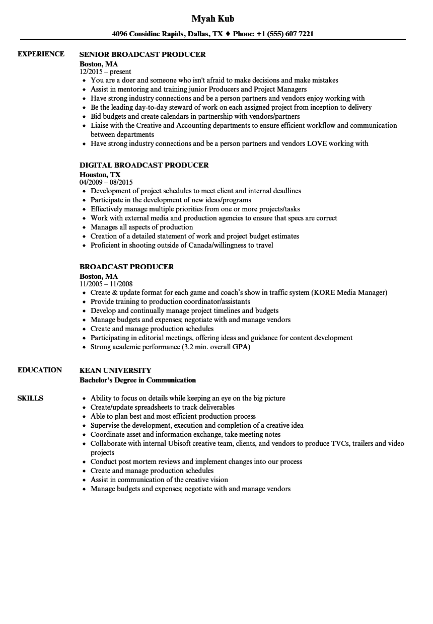 Broadcast Producer Resume Samples | Velvet Jobs