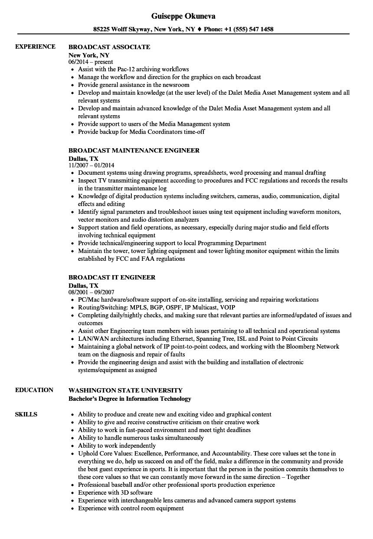 broadcast resume samples