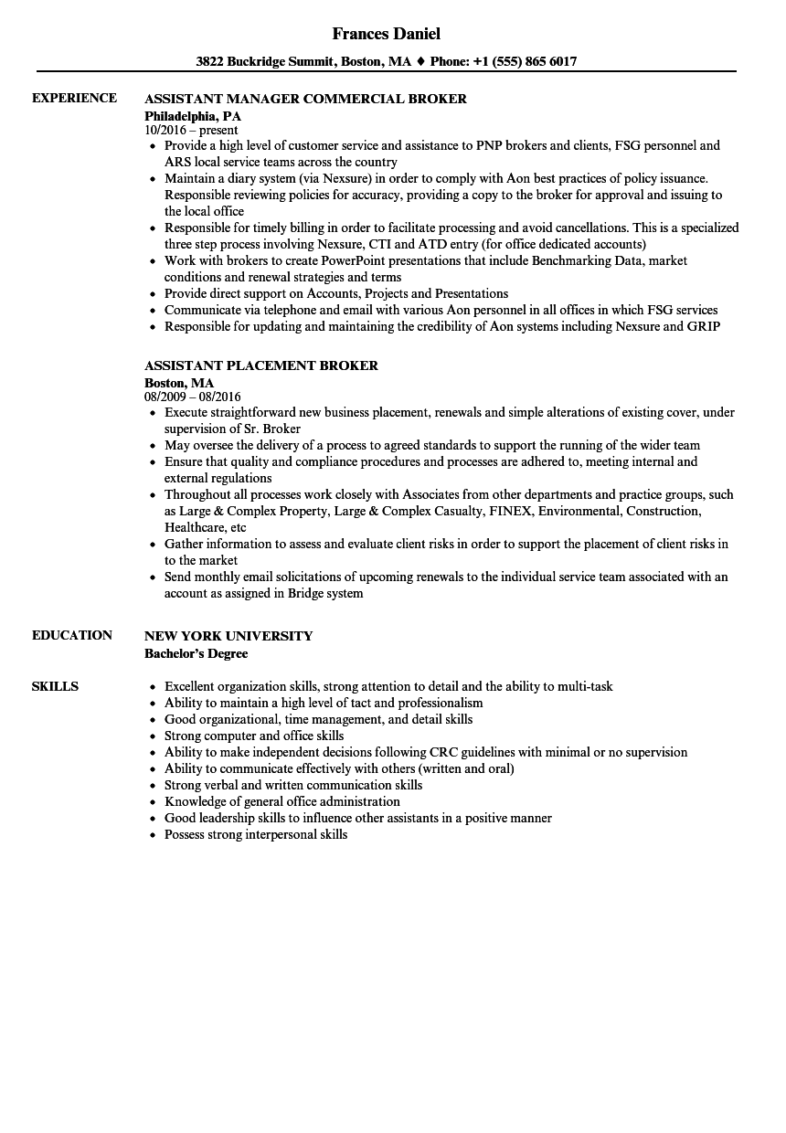 Broker Assistant Resume Samples | Velvet Jobs
