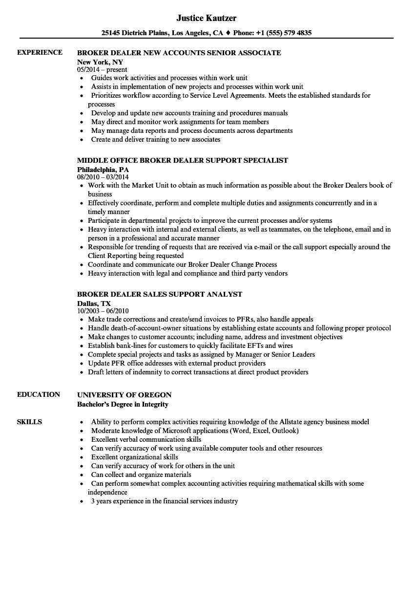 broker dealer resume samples