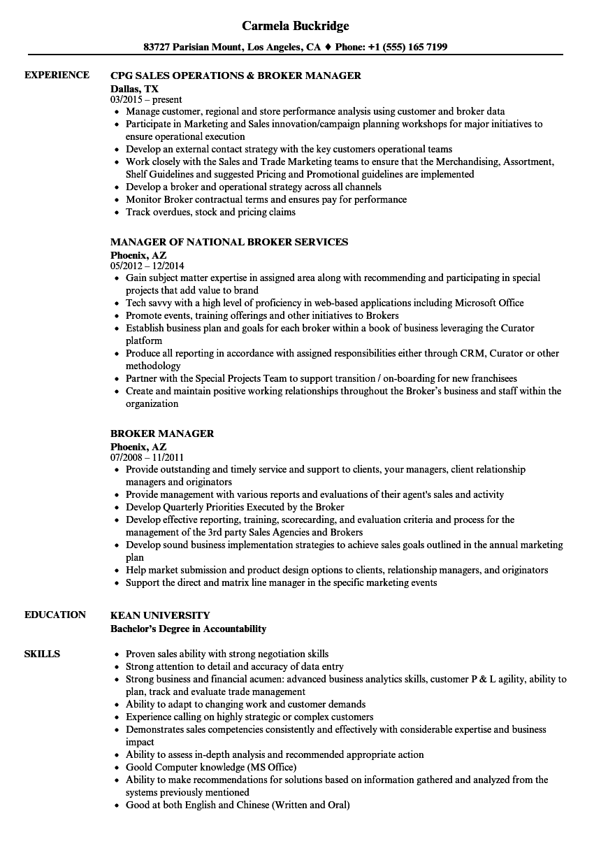 Broker Manager Resume Samples | Velvet Jobs
