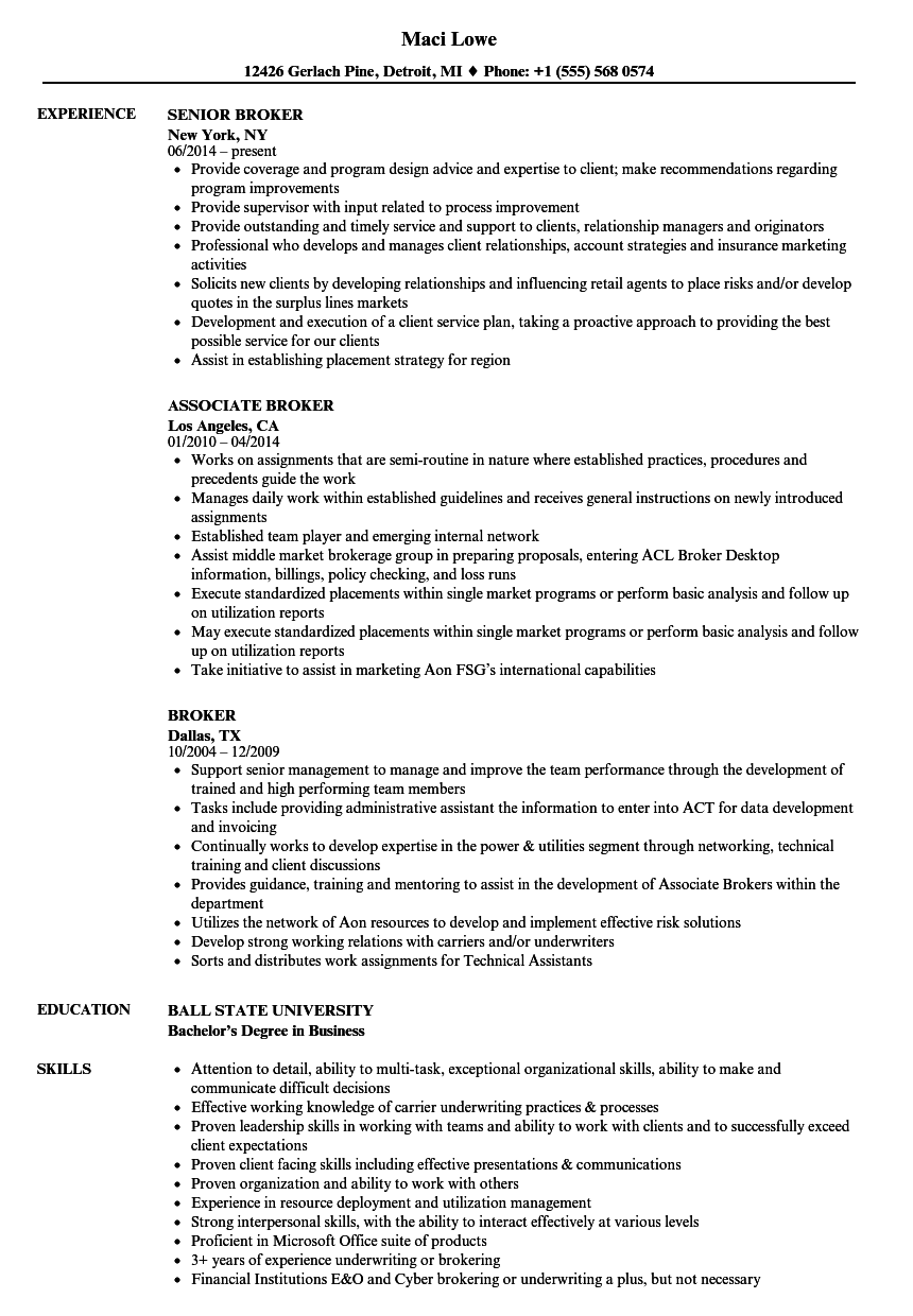 broker resume samples