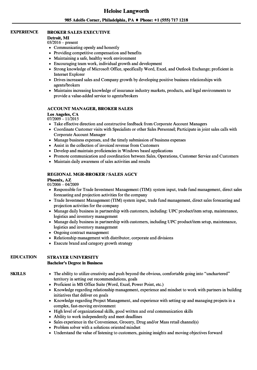 broker sales resume samples