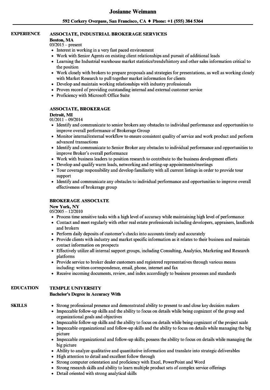 Brokerage Associate Resume Samples | Velvet Jobs
