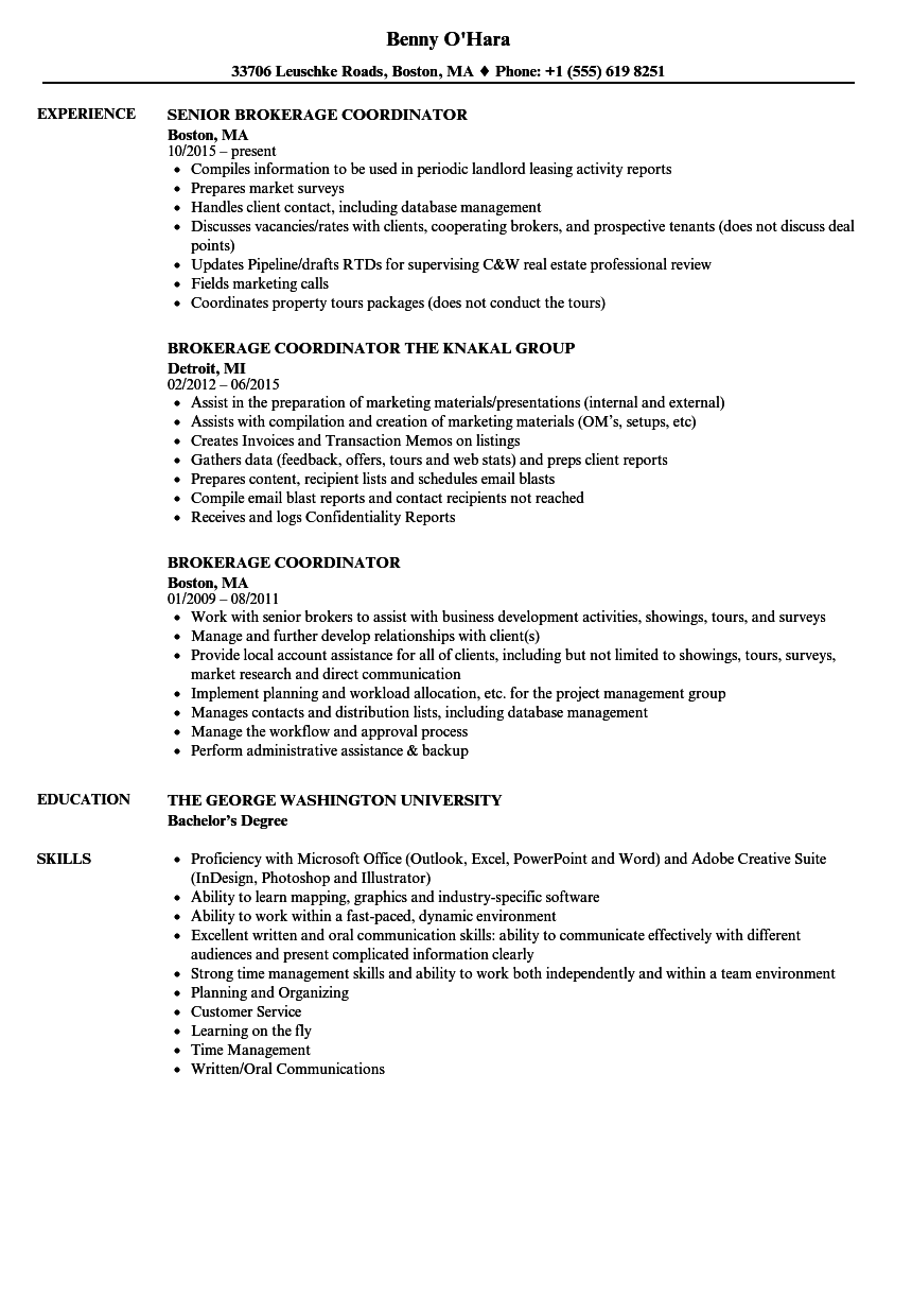 Brokerage Coordinator Resume Samples | Velvet Jobs