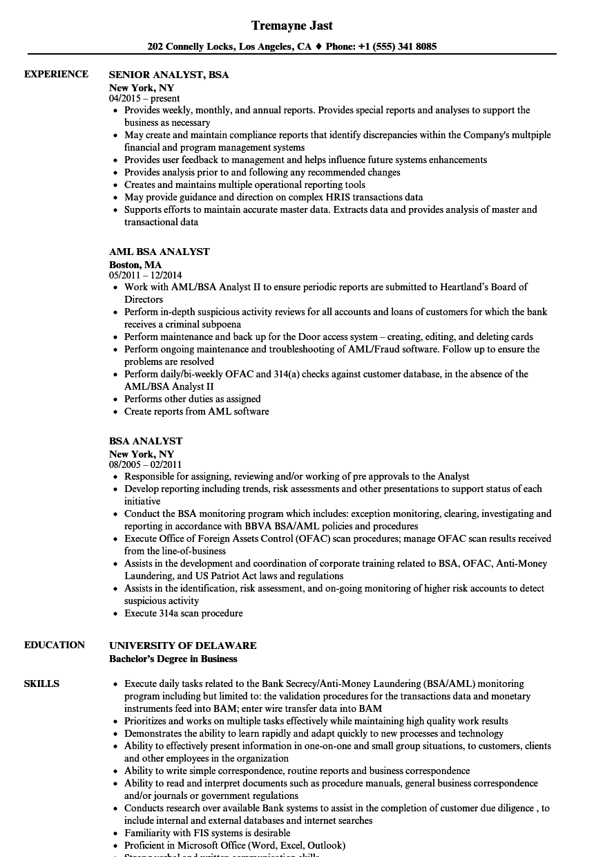 bsa analyst resume samples