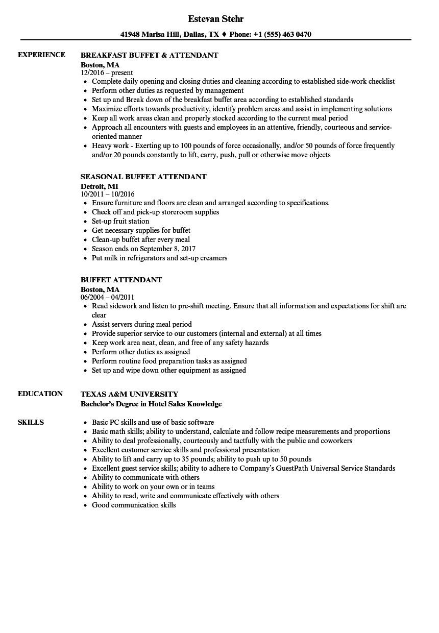 buffet attendant resume samples