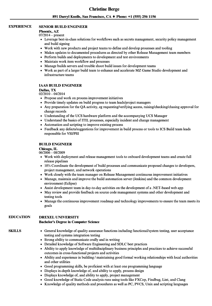 Build Engineer Resume Samples Velvet Jobs