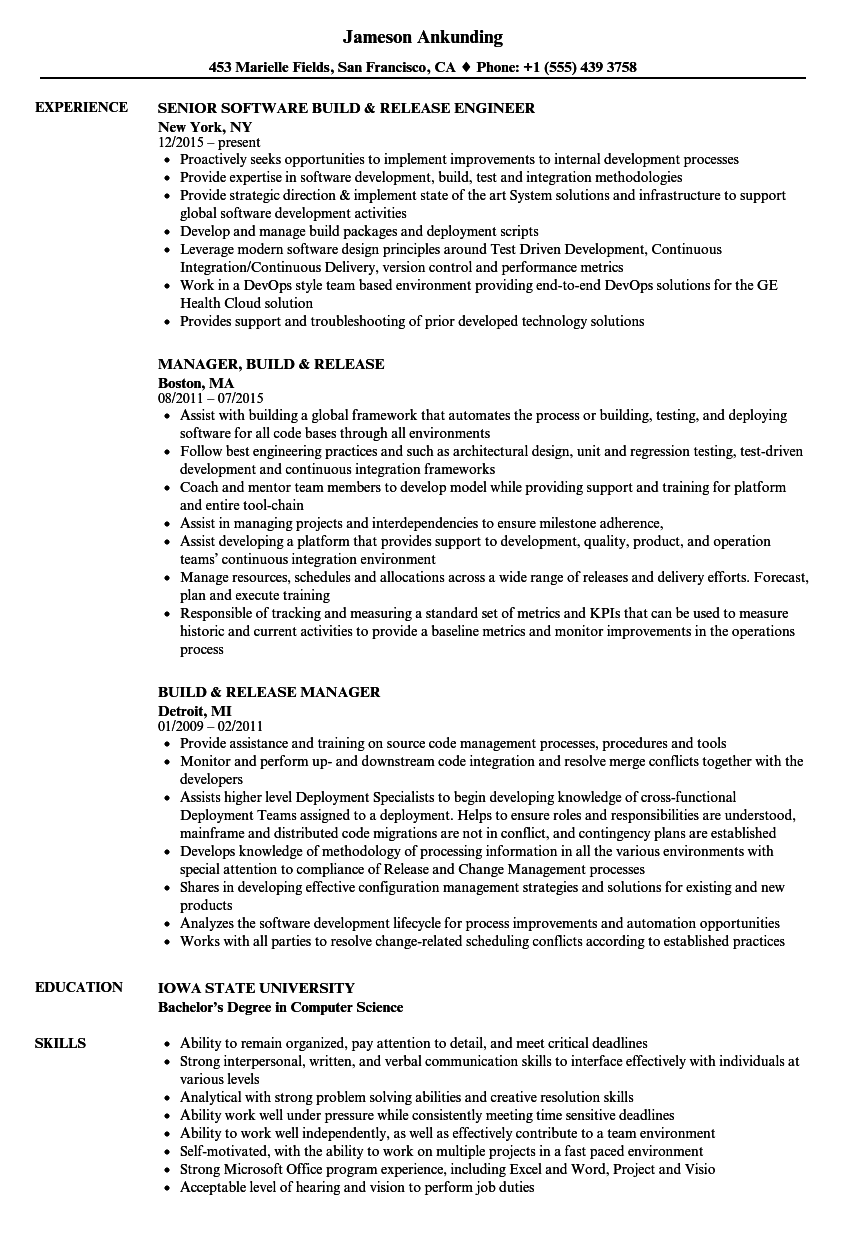 download build release resume sample as image file - Build And Release Engineer Resume