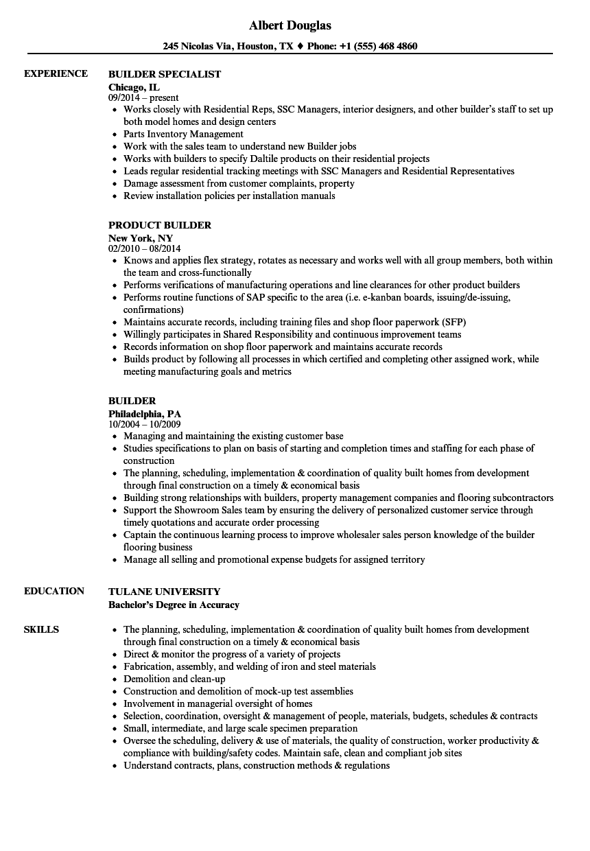 builder resume samples