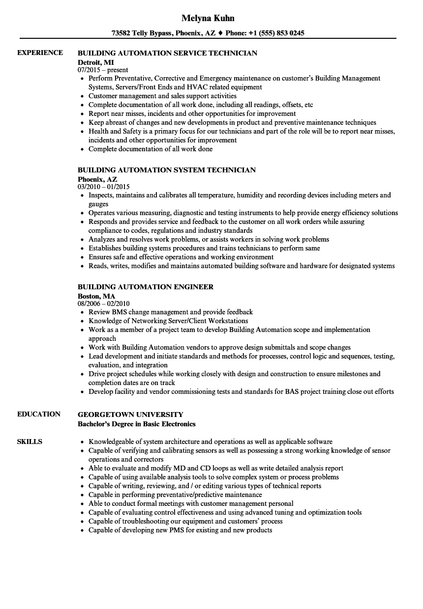 building automation resume samples