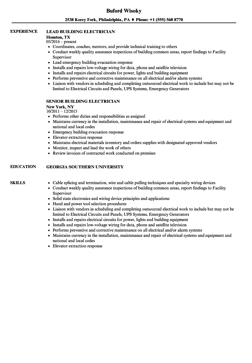 Building Electrician Resume Samples | Velvet Jobs
