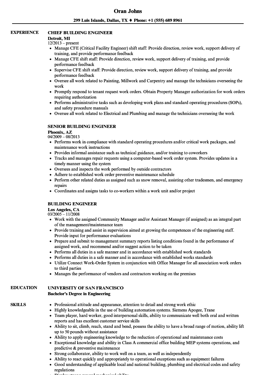 Download Building Engineer Resume Sample As Image File