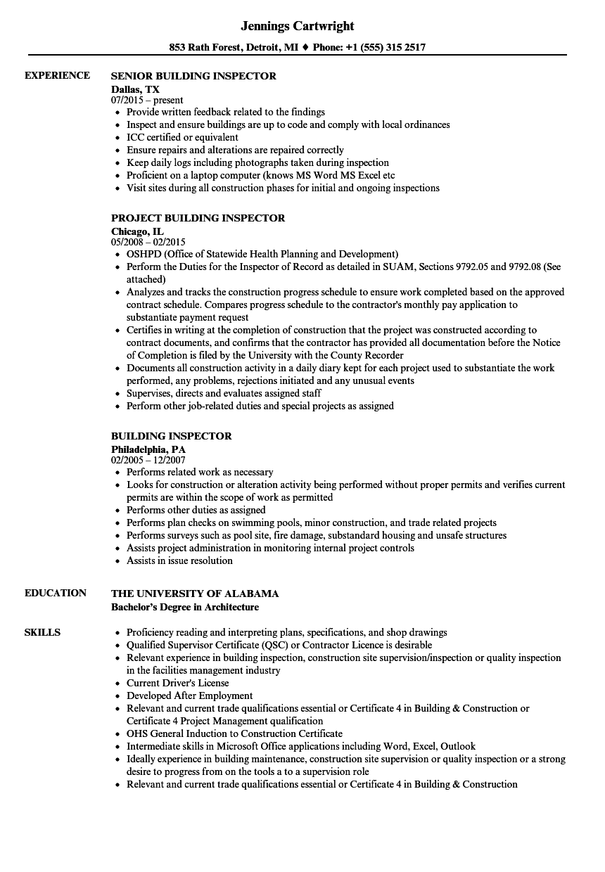 Building Inspector Resume Samples | Velvet Jobs
