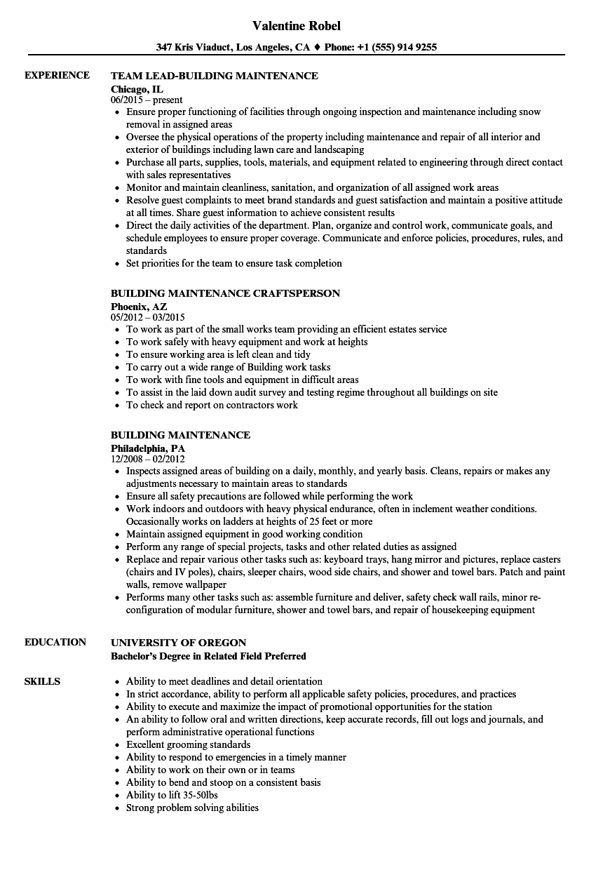 Building Maintenance Resume Samples | Velvet Jobs