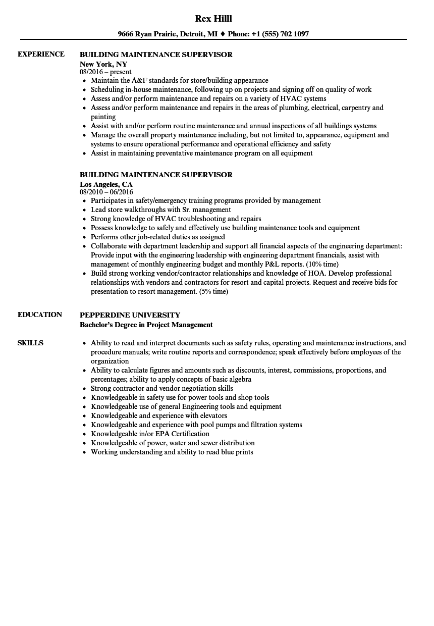 building maintenance supervisor resume samples