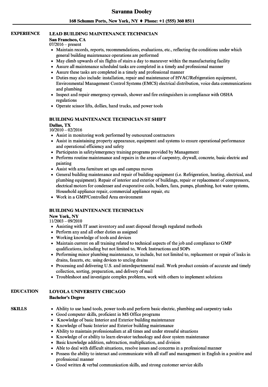 Building Maintenance Technician Resume Samples | Velvet Jobs