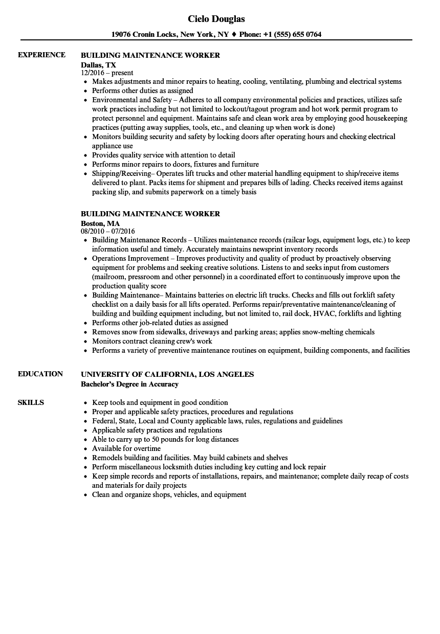 download building maintenance worker resume sample as image file - Building Maintenance Resume