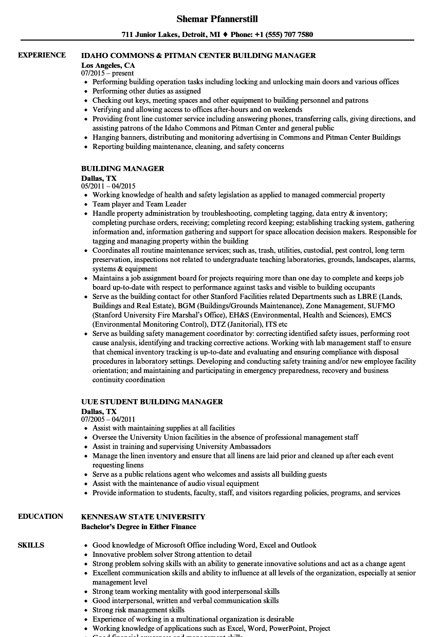 Building Manager Resume Samples | Velvet Jobs