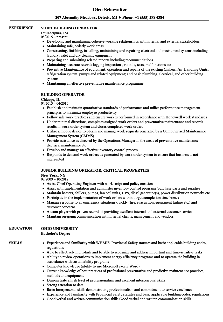 building operator resume samples