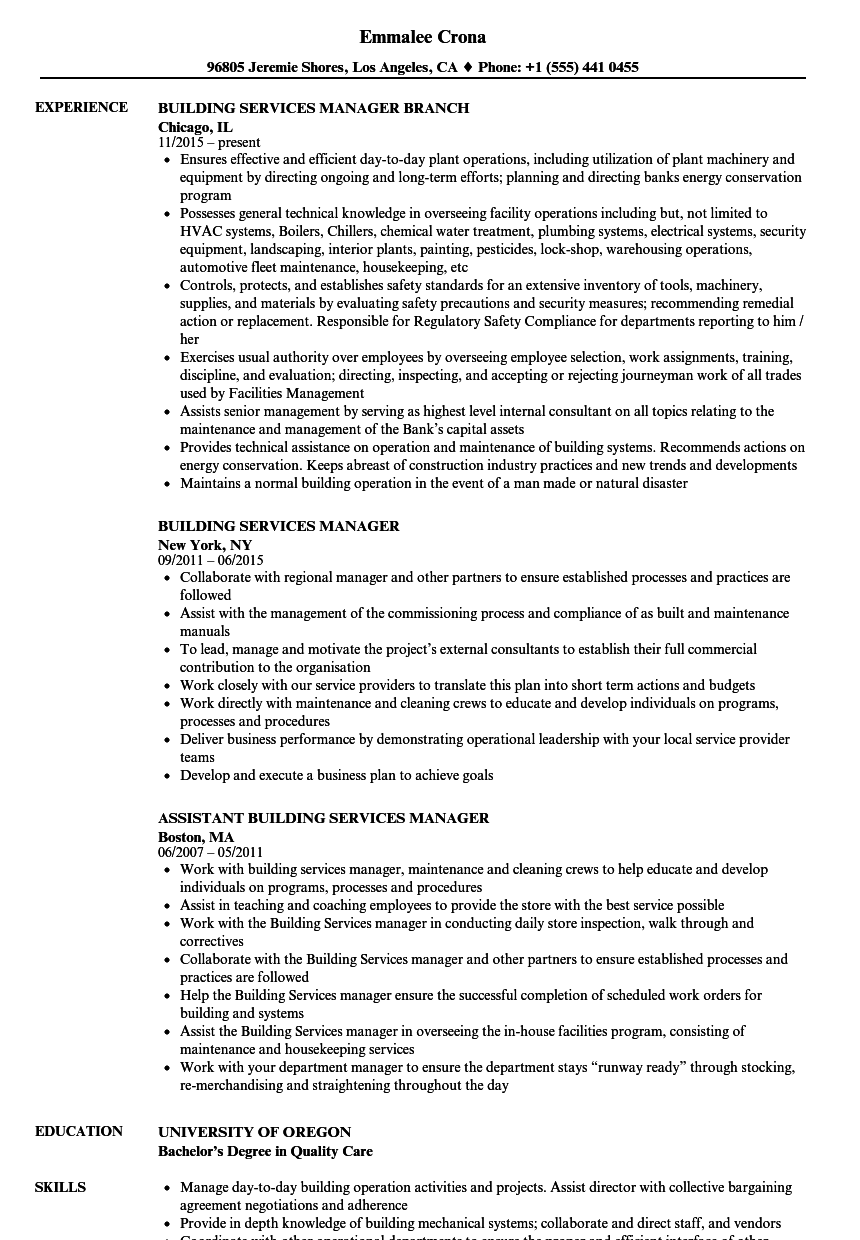 building services manager resume samples
