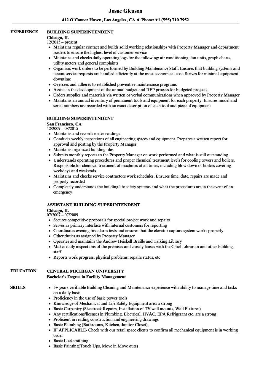 Superintendent Resume Under Fontanacountryinn Com Templates