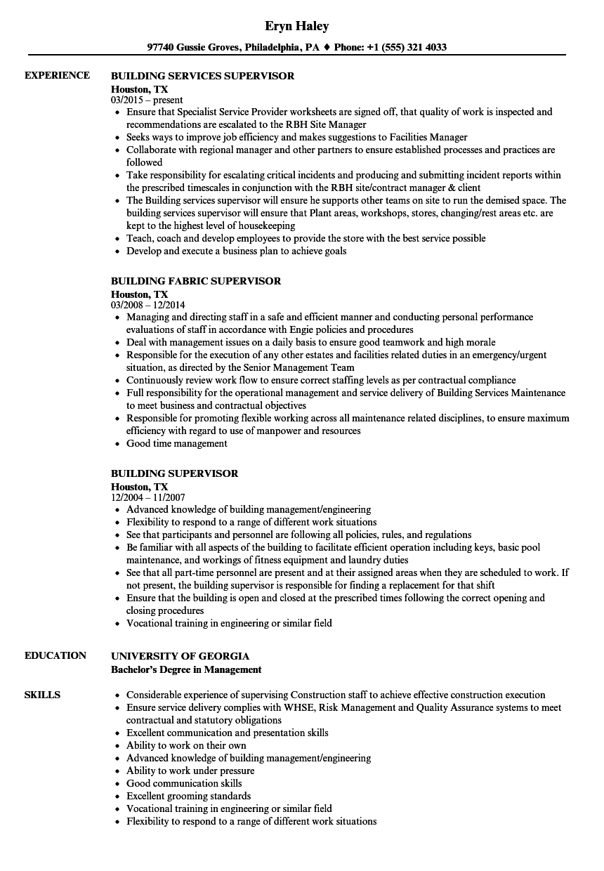 Download Building Supervisor Resume Sample As Image File
