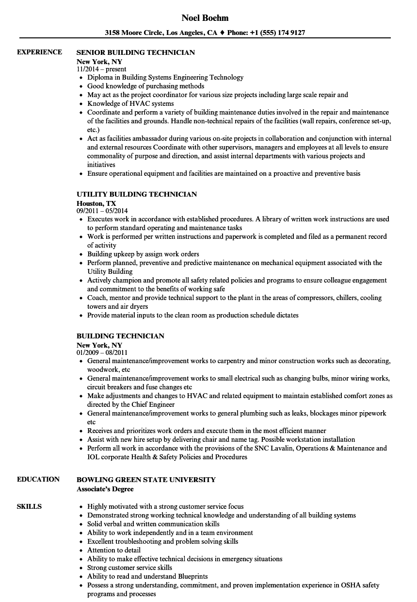 building technician resume samples
