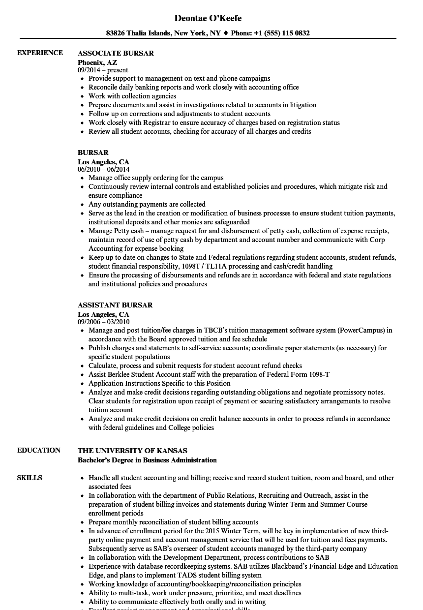 Bursar Resume Samples | Velvet Jobs